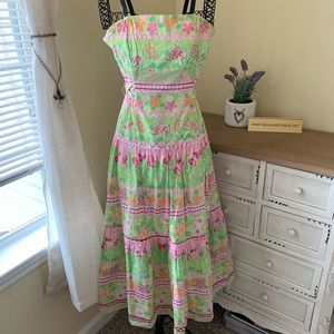 Lily Pulitzer Green & Pink Strapless Dress Size 2